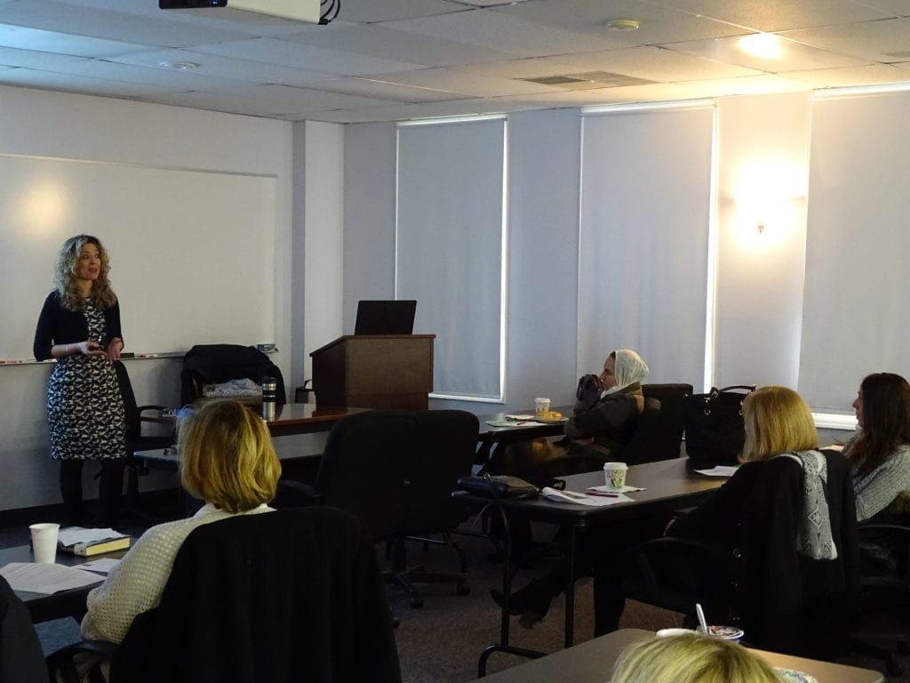 Rina Nowka lecturing to students during her Infection Control course